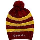 Harry Potter-Beanie Gryffindor Stripe/Rib Pom Red