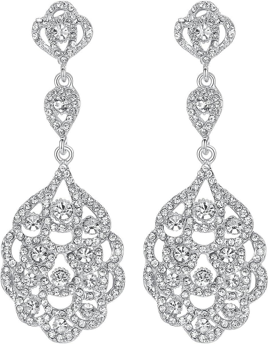 Mecresh - Pendientes colgantes para novia, diseño de boda de oro con cristales, para mujeres o damas de honor…