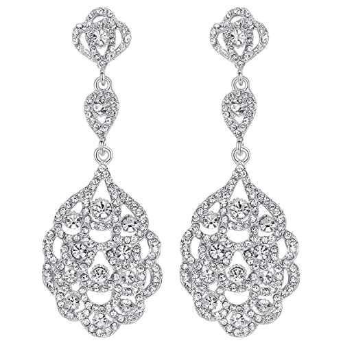 aac5f343b7f08 mecresh Wedding Crystal Rhinestone Beaded Dangle Earrings for Brides