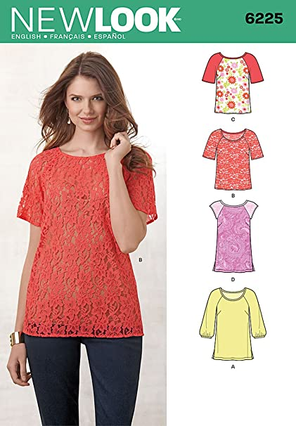 147a82d10f5 Simplicity Creative Patterns New Look 6225 Misses' Tops in Two Lengths, A  (8-10-12-14-16-18-20)
