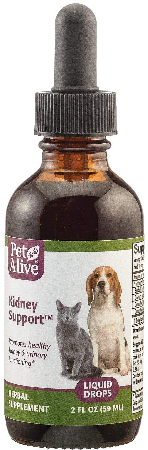 PetAlive Kidney Support - All Natural Herbal Supplement Promotes Healthy Kidney and Urinary Functioning in Cats and Dogs - 59 mL by PetAlive