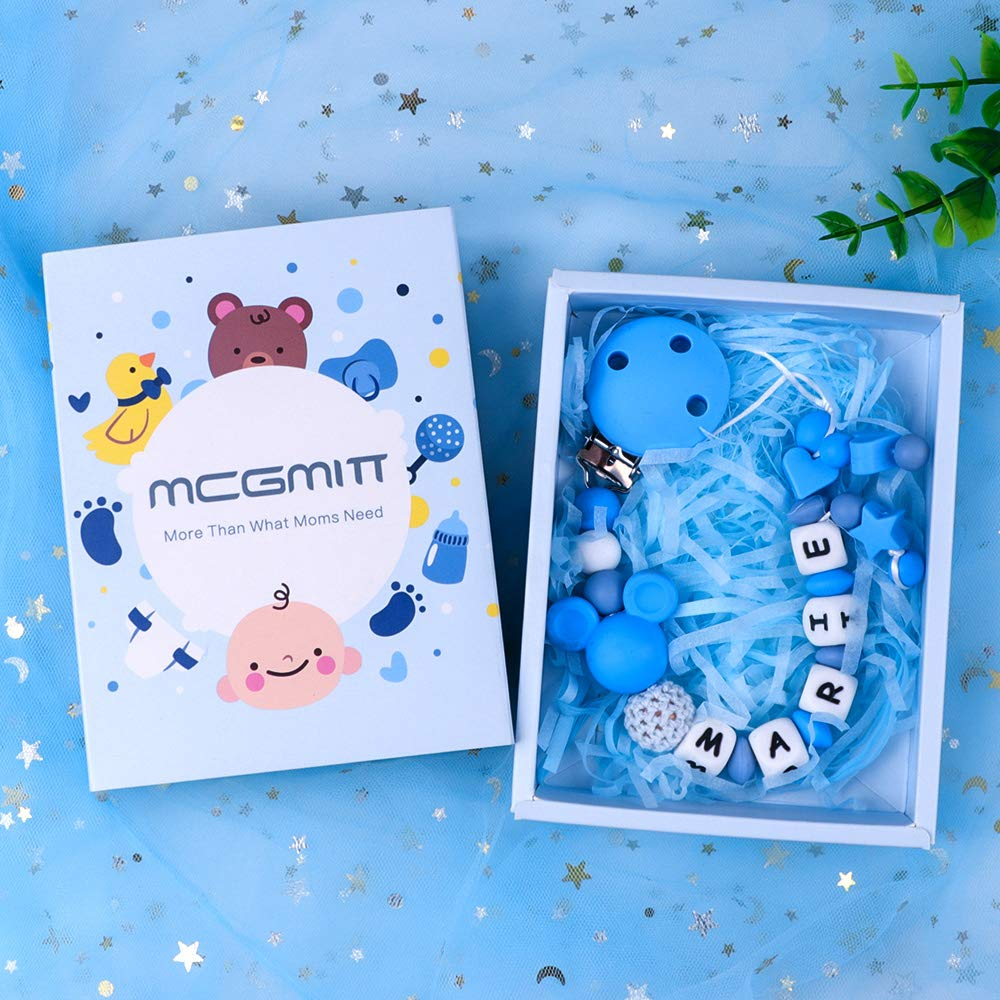 Turquoise Dummy Clips Personalised Name Boys Baby Pacifier Chain Dummy Holders with Silicone Teething Toys
