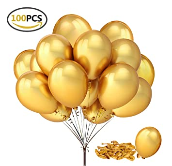 "Fecedy 100pcs/pack 12"" Gold Shiny Balloons for party Decoration ..."