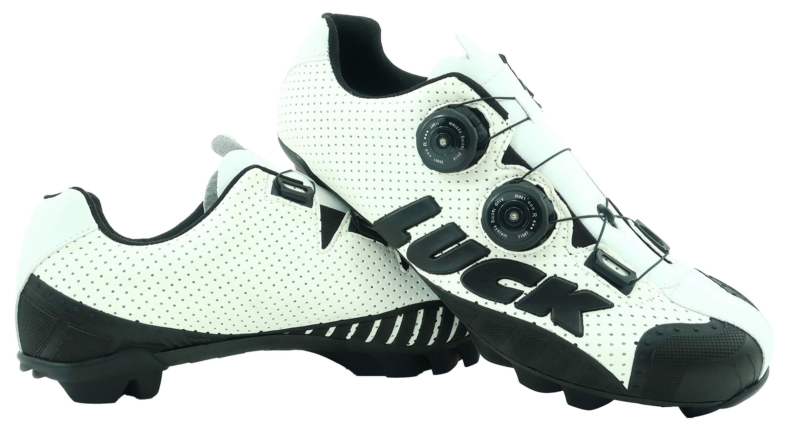 LUCK Zapatillas de Ciclismo MTB, Excalibur, Serie Profesional, Suela de Carbono, Taco