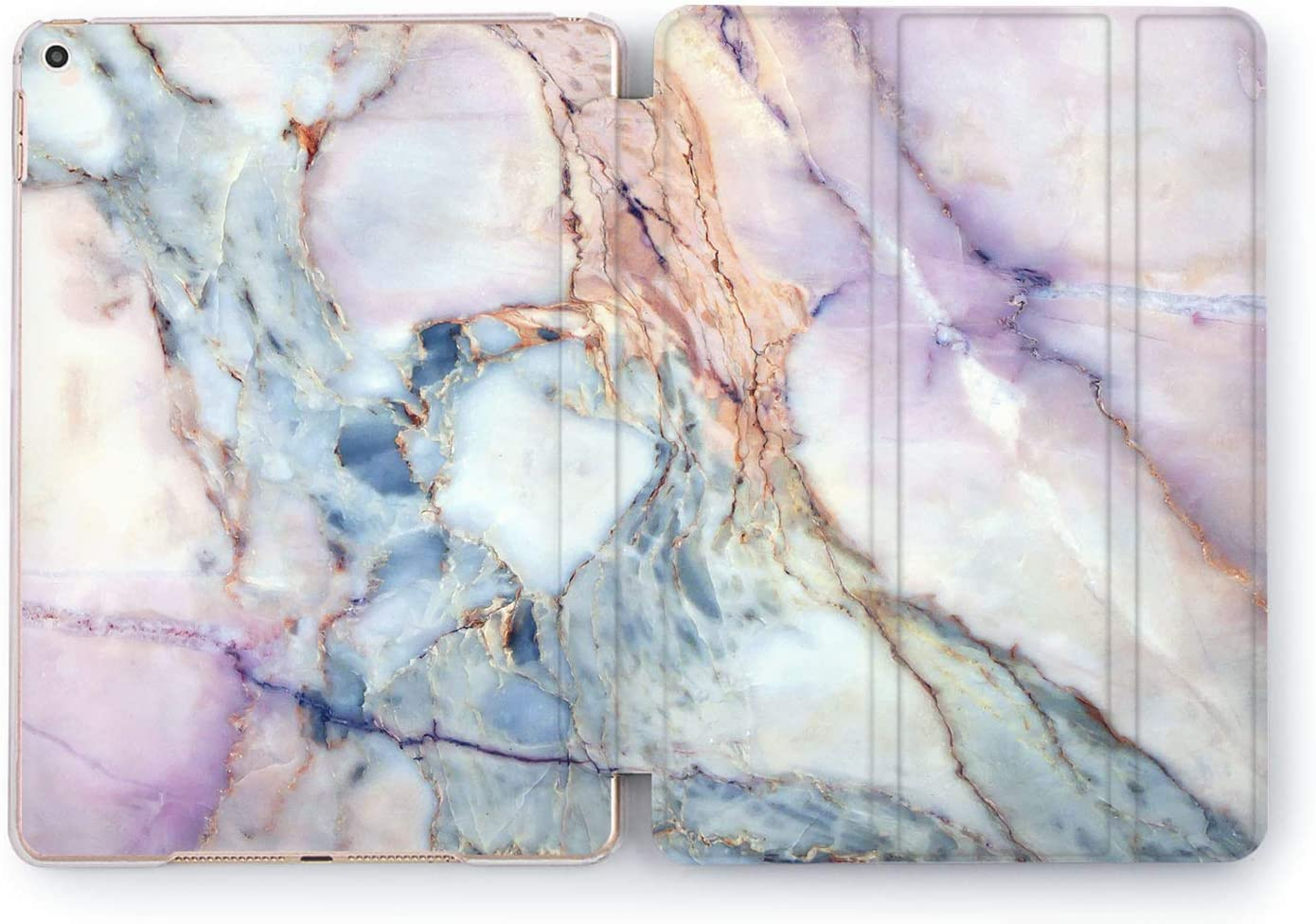 Wonder Wild Case Compatible with Apple iPad Multicolored Mini 1 2 3 4 Watercolor Air 2 Pro 10.5 12.9 Blue Purple Pink 11 10.2 9.7 inch Protective Cover 5th 6th Gen Marble Stone Stand Cute
