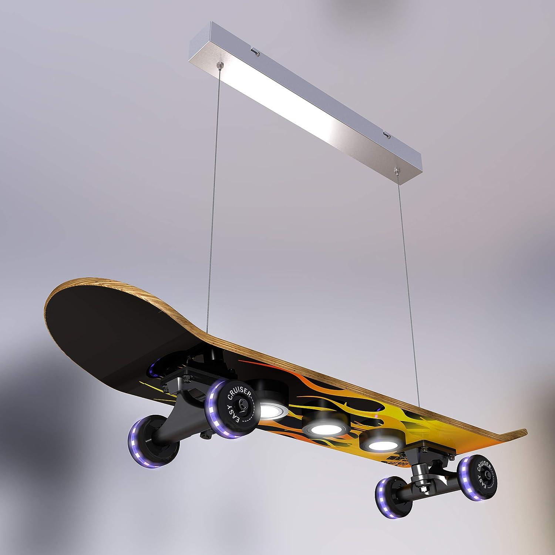 Evotec Easy Cruiser Flame - Lámpara de techo (7 focos) / 3000K / 14W / 1340 Lumen/Wheels RGB/control de luz por mando a distancia de madera, 14 W, ...