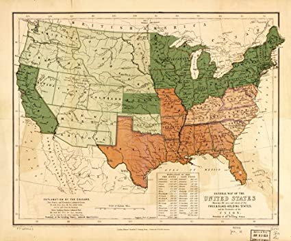 Amazon.com: Vintage 1857 Map of the United States, showing ...