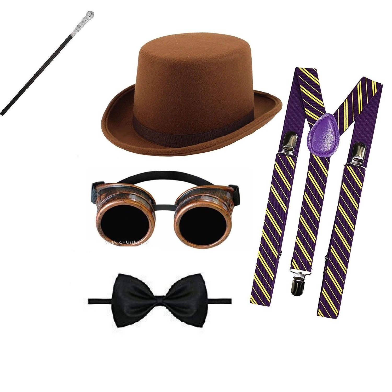 059f879e9c4 Mega Jumble® Adult Willy Wonka Charlie and the Chocolate Factory Roald Dahl  Adult Unisex Fancy Dress Accessories Set Brown Top Hat