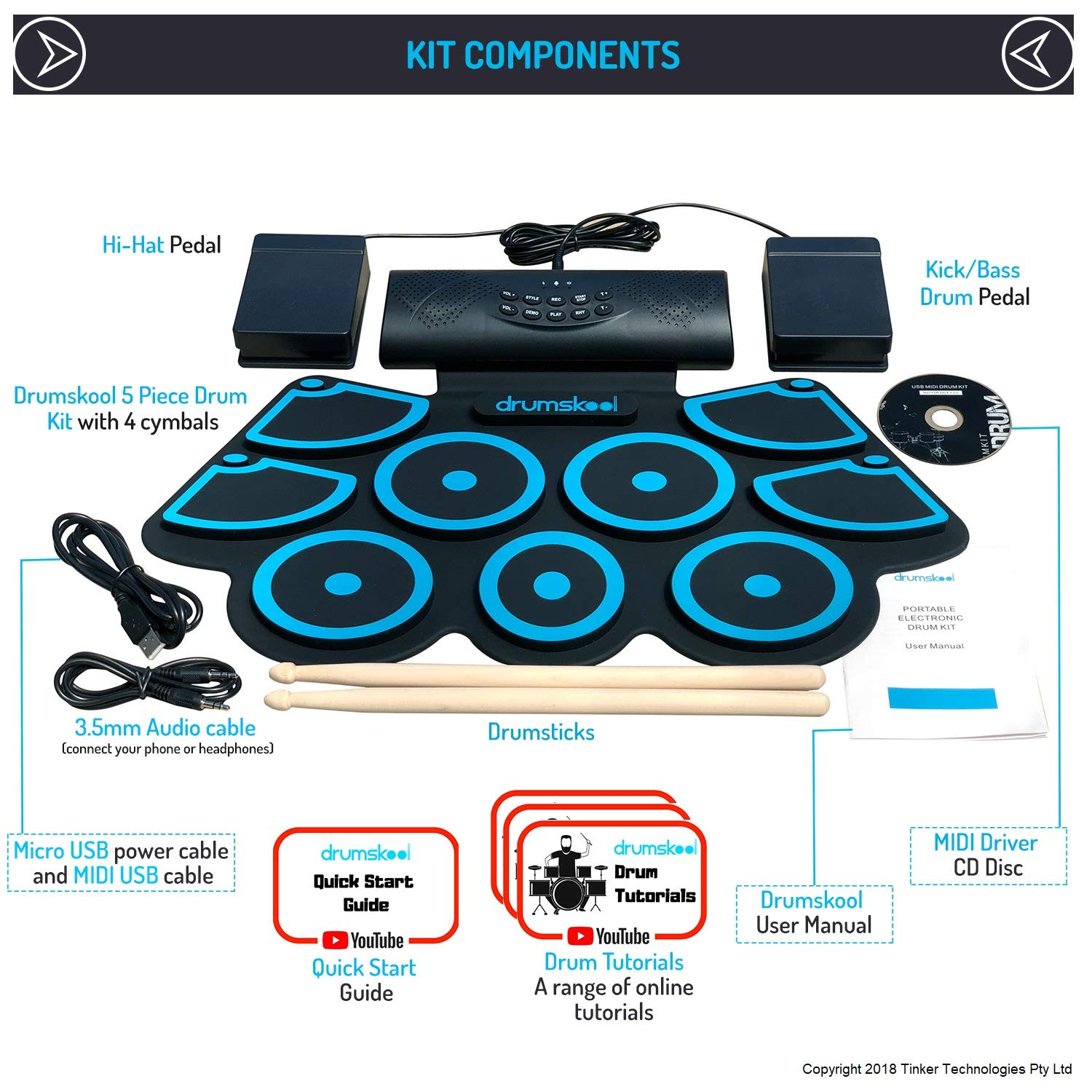 Drumskool Electronic Drum Set, MIDI Electric drum kit, Connect your phone to play along with included Drum Lessons, Speakers, Drum Pedals, Drum Sticks, 10 hours play time, Quickstart Guide by Drumskool (Image #7)