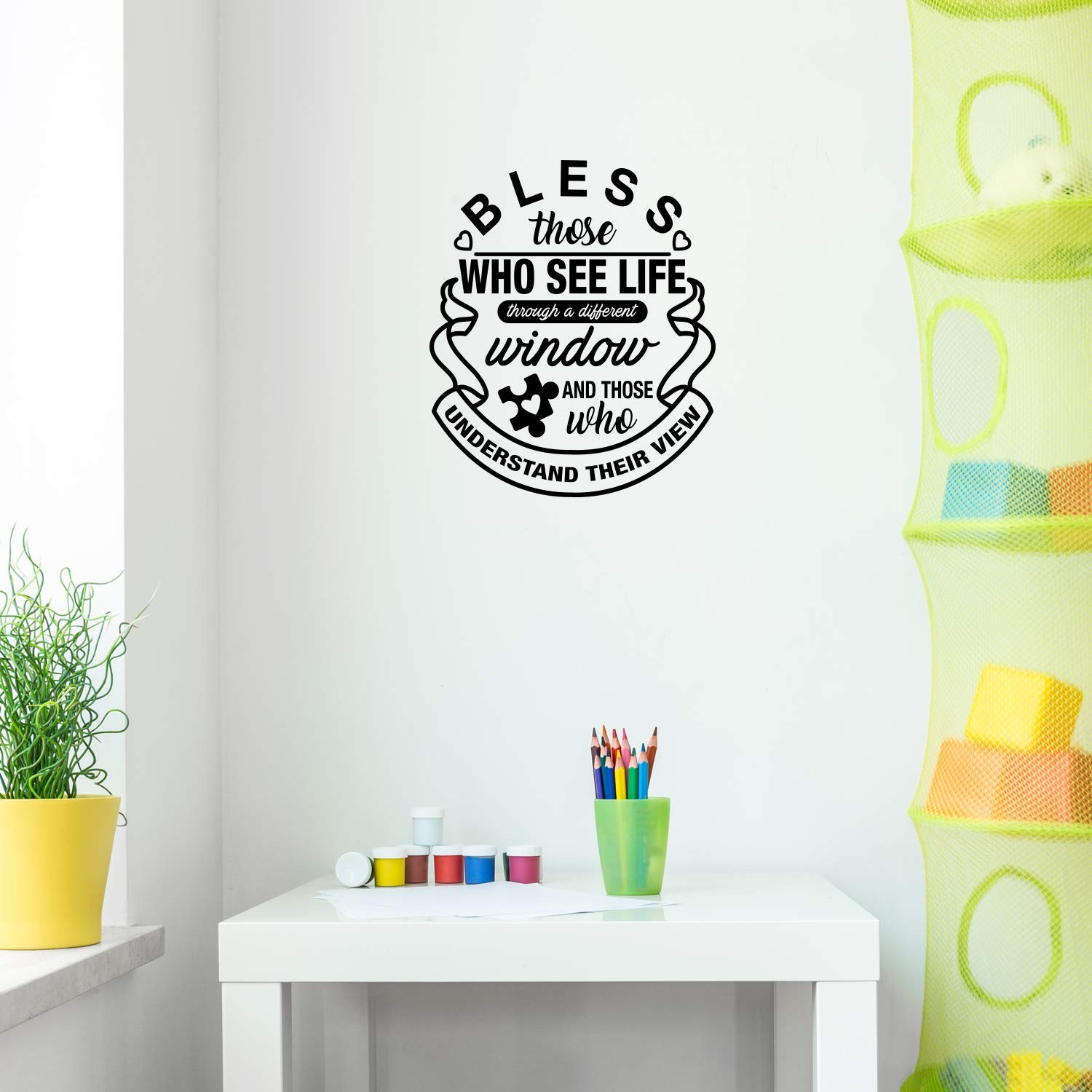 """Vinyl Wall Art Decal - Bless Those Who See Life Through A Different Window - 20"""" x 17"""" - Modern Thinking Autism Quote for Home Bedroom Classroom School Workplace Indoor Decoration"""