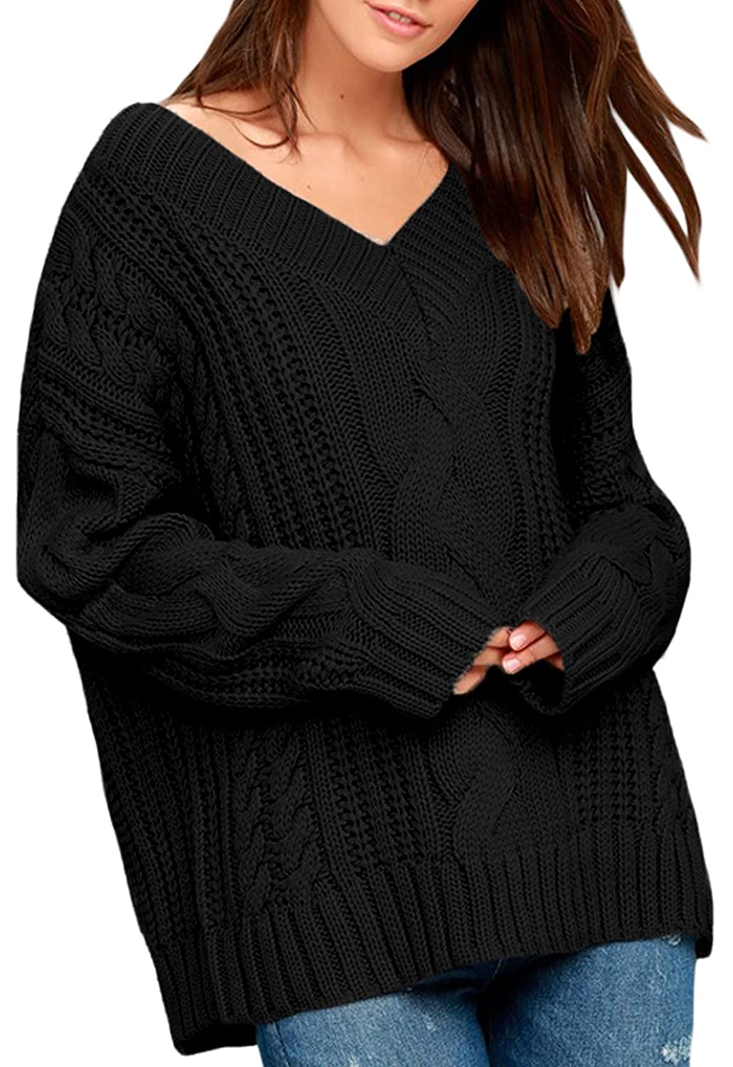 b80054de6 Dearlovers Womens Long Sleeve V Neck Loose Casual Knit Sweater Pullovers  Tops at Amazon Women s Clothing store