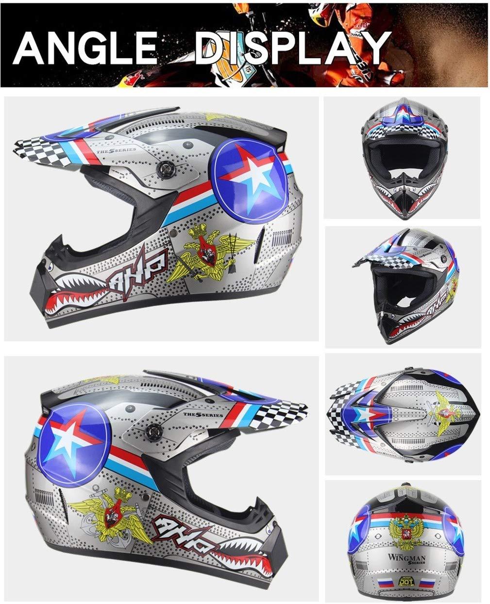 Vollhelm f/ür MX-Motorr/äder Unisex-Motorradhelm Vollhelm f/ür AM-Mountainbikes Yangyer Motocross-Helm Helm f/ür Erwachsene mit Handschuhmaskenbrille Matte Black,M