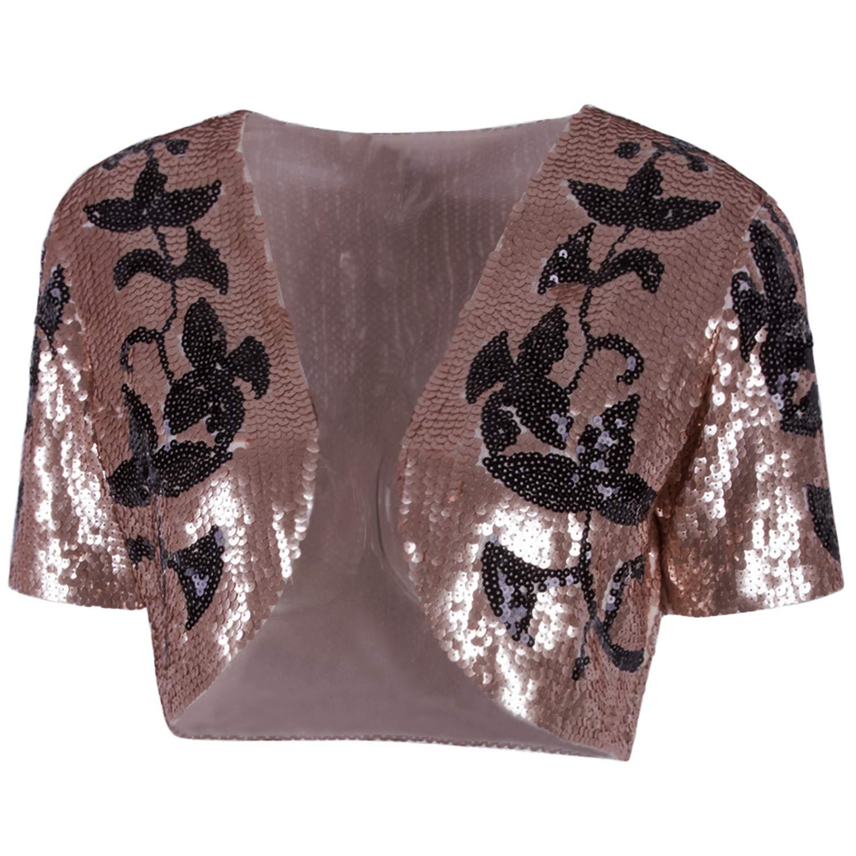 bec8d9a9 Vijiv Women's Vintage 1920s Sequin Shrug Bolero Cropped Top Open Cardigan  Jacket for Evening Dresses at Amazon Women's Clothing store:
