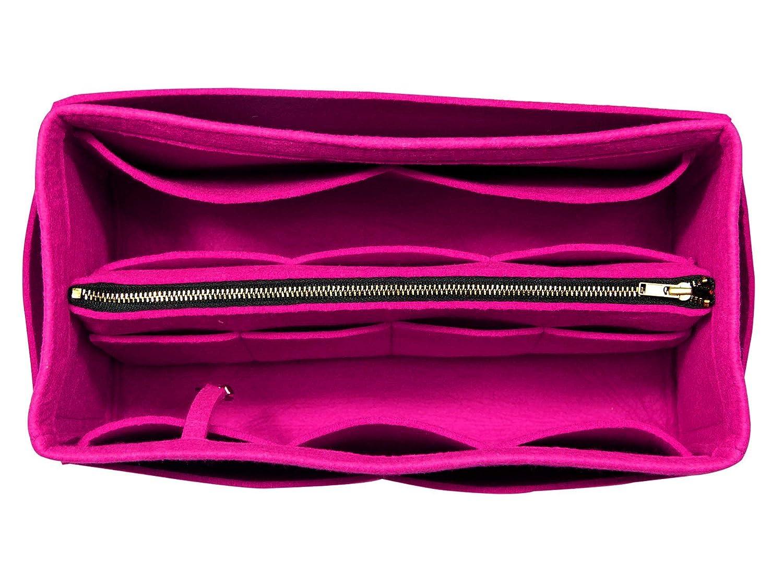 [Fits Neverfull MM/Speedy 30, Pivoine] Purse Insert (3mm Felt, Detachable Pouch w/Metal Zip), Felt Tote Bag Organizer