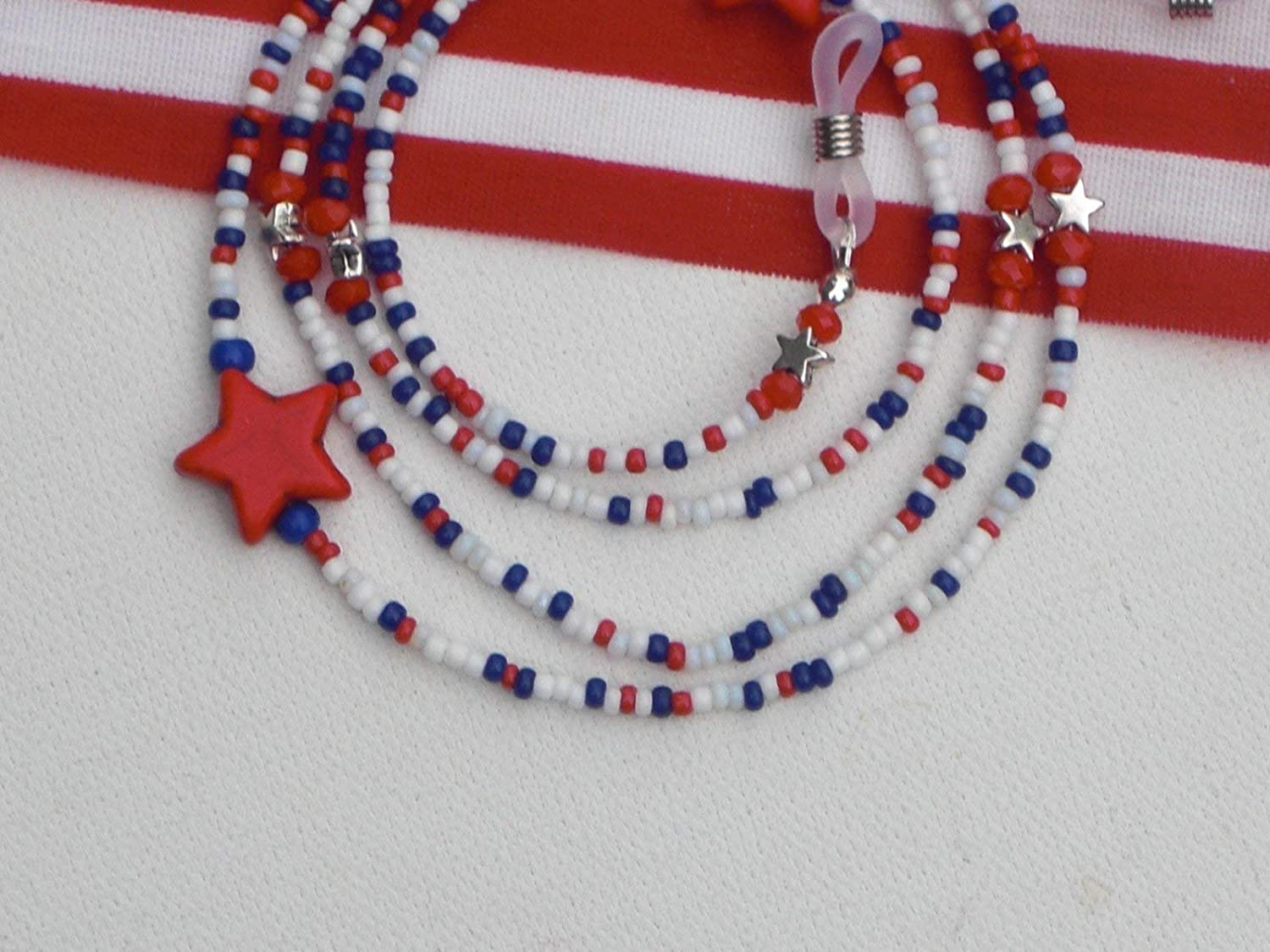 Eyeglasses sunglasses holder necklace cord. Summer Fourth of July patriotic accessories Red white and blue leather beaded eyeglass chain