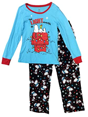 peanuts womens snoopy dog pajamas snowflake heart christmas holiday sleep set - Snoopy Christmas Pajamas