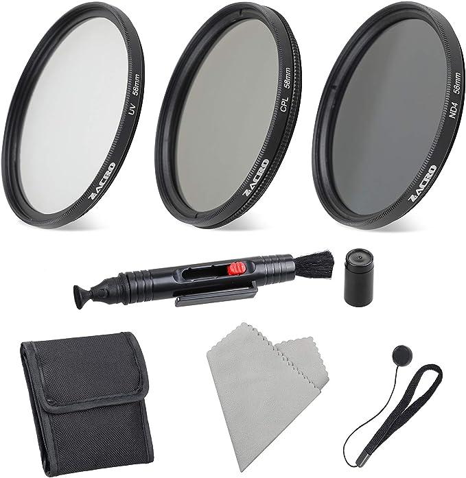 Zacro 58mm 6 en 1 Kit Filtros de Fotografía (ND2, ND4, ND8, ND16,Filtros de Accesorios) para Cámara Réflex Figital,Lapiz de Lente, Funda de Filtro, Capucha,Tapa de Lente,Paño Limpieza Incluye: Amazon.es: Electrónica