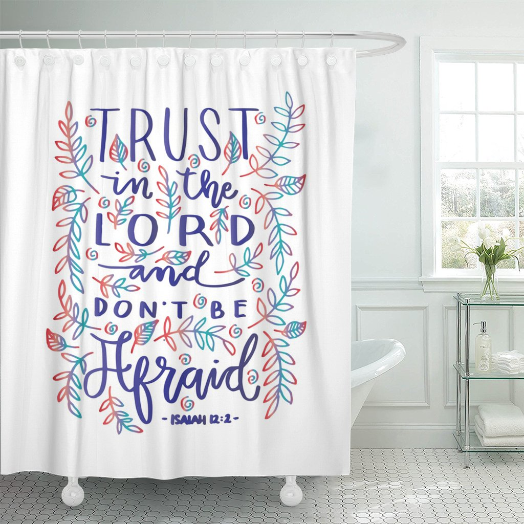 VaryHome Shower Curtain Faithful Trust in the Lord Bible Verse Hand Lettered Quote Modern Calligraphy Christian Gospel Waterproof Polyester Fabric 72 x 72 Inches Set with Hooks