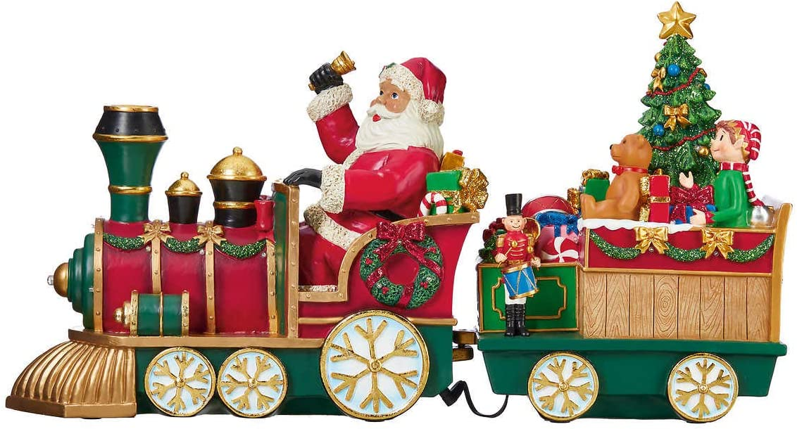 "Kirkland Xmas Santa Christmas train Centerpiece 2 feet (24"") long 12"" tall Huge LED lights timer"