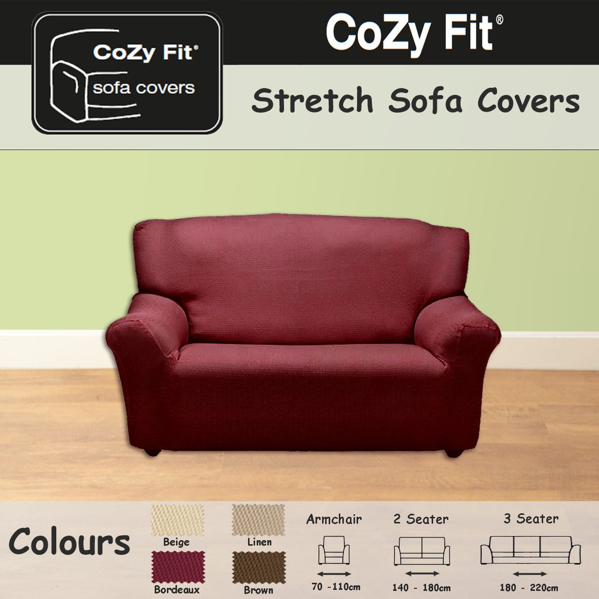 2 SEATER   Easy Stretch Elastic Fabric SOFA / SETTEE SLIP COVER Burdeaux U0027Sofa  Huggersu0027 By VICEROY BEDDING: Amazon.co.uk: Kitchen U0026 Home