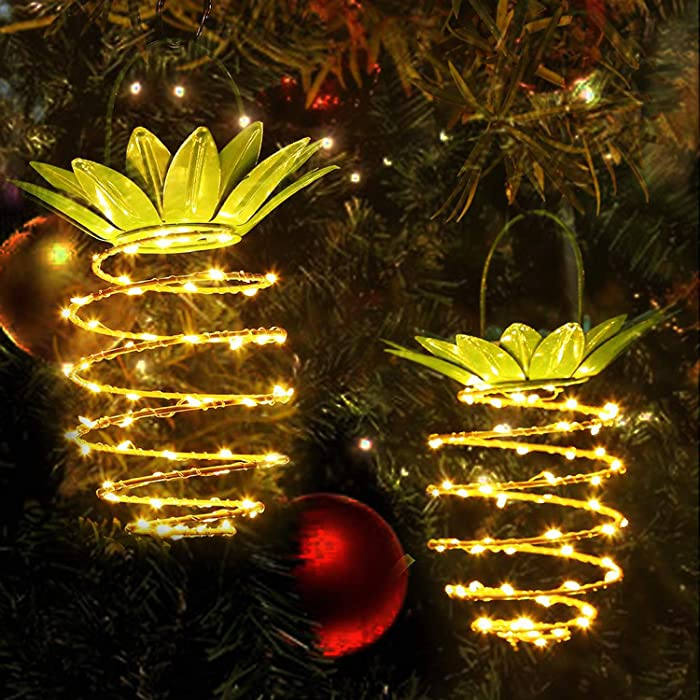 Hanging Pineapple Solar Garden Lights, Upgraded 60 LED Copper Wire Light for Patio, Party, Walkway, Courtyard, Lawn Decorative, Deck, Tabletop, Fence, Pathway (Pineapple Style) (Pineapple)