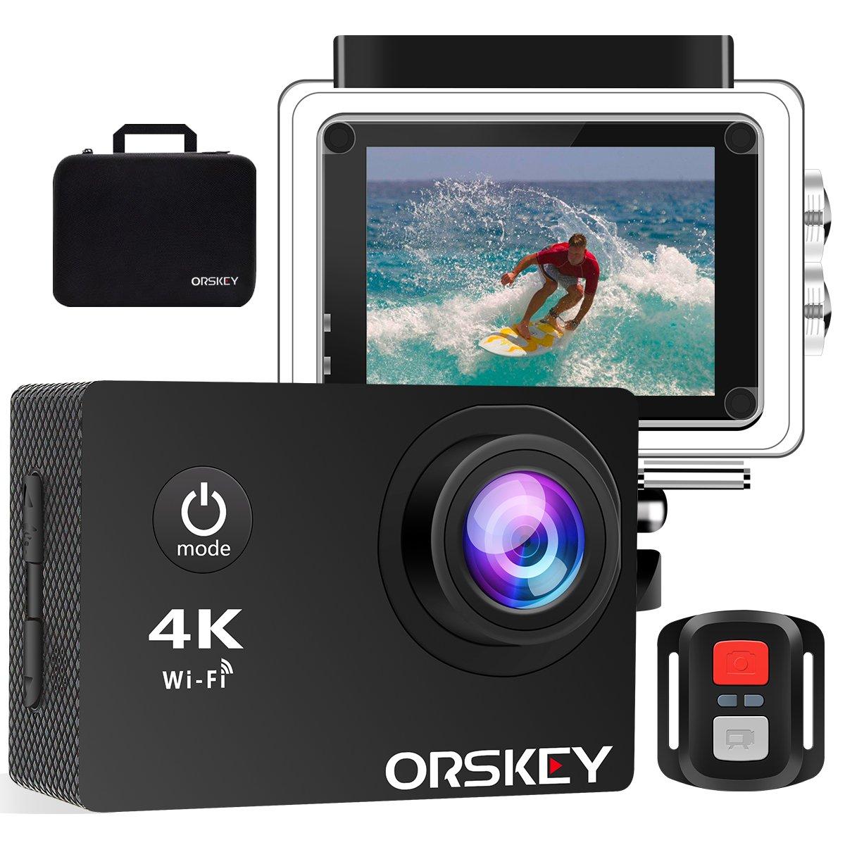 ORSKEY Action Cam 4K 16MP WIFI Unterwasserkamera Ultra HD Sport Kamera Wasserdicht Helmkamera mit 2.4G Fernbedienung 170 Weitwinkel 2 verbesserten Akkus Tragbare Reisetasche und Montage Zubehör Kit