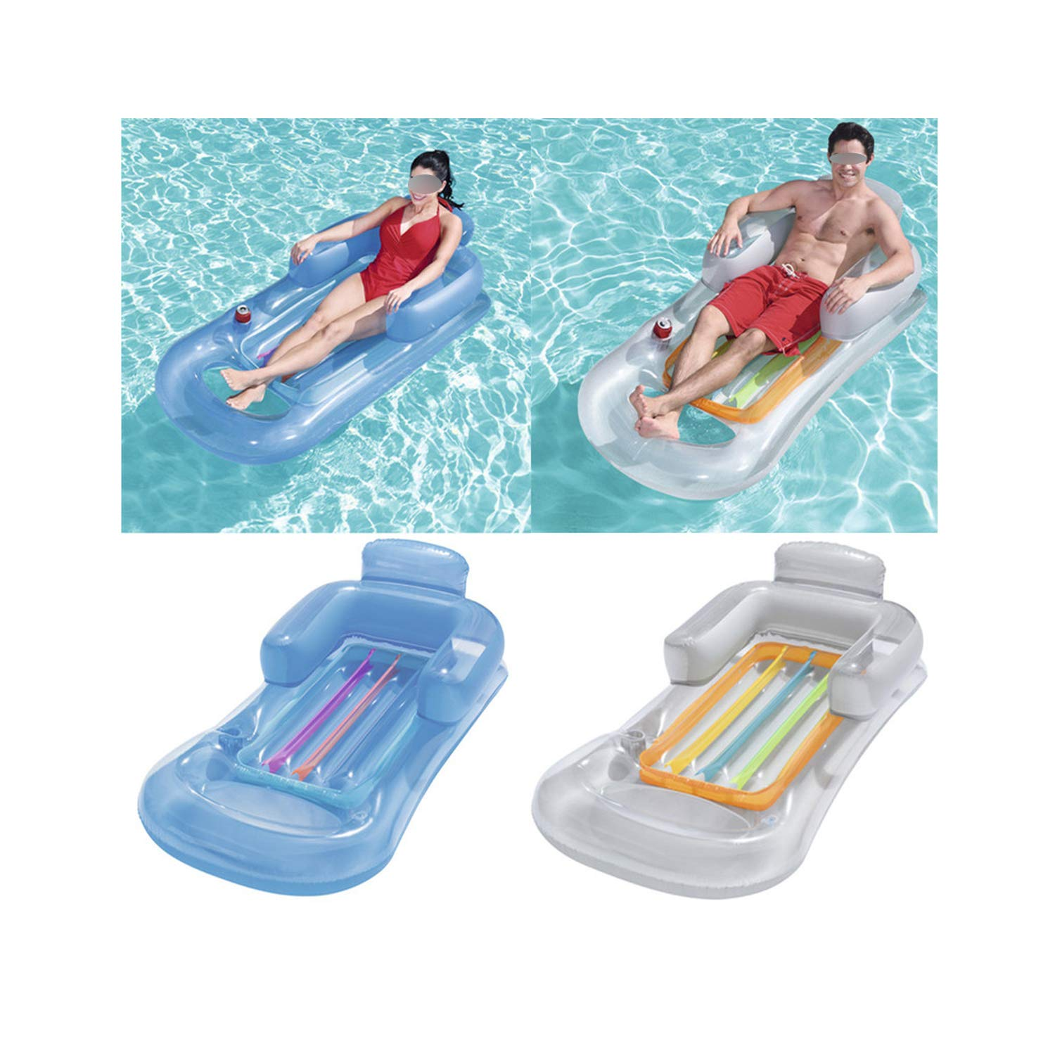 QIUHUAXIANG Inflatable Floating Row 157X89Cm Beach Swimming Air Mattress Pool Floats Floating Lounge Sleeping Bed for Water Sports Party,Random Color