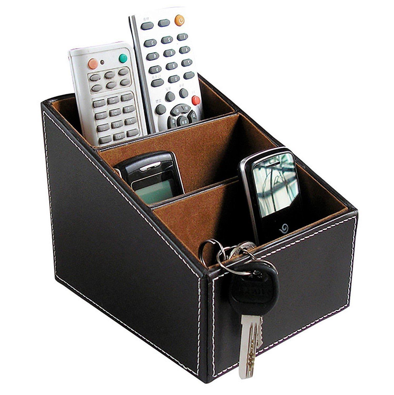 Soporte para mando mando para a distancia de cuero sintético con guía de TV, organizador de CD, mando a distancia, organizador de papelería, organizador de papelería, soporte para papelería 1c582f