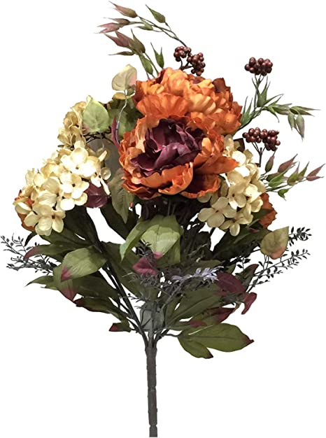 Amazon Com Vickerman Mixed Peony And Hydrangea Bush Artificial Flowers 21 Orange Home Kitchen