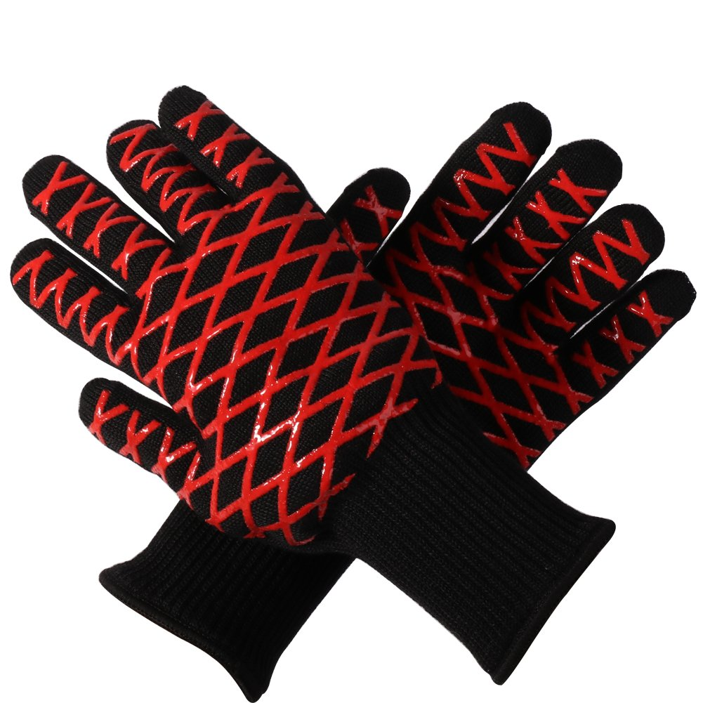 Extreme Heat resistant Oven Mitts BBQ Gloves Black,Safty Smoker BBQ Gloves Insulated,Long Sleeve Heat BBQ Gloves For Barbecue,FireplaceBBQ Rub Gloves,High Temp Extra Long Chef BBQ Fire Gloves