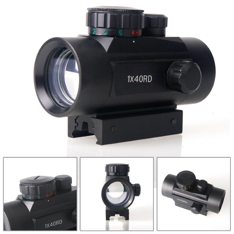 Pinty Mirino Telescopico Tattico 1x40mm Reflex Verde e Punto Rosso con Guide di Montaggio 20mm DSS000700