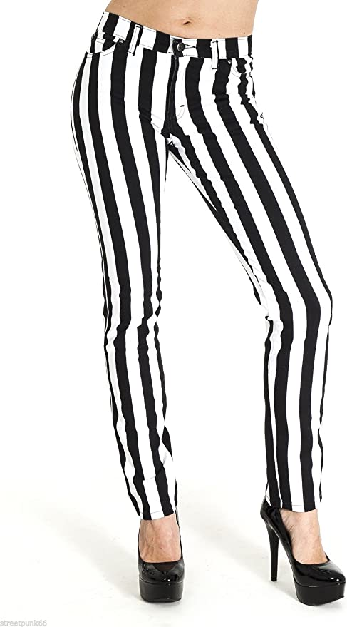 60s Fancy Dress and Quality Clothing 1960s UK Run & Fly New Womens Skinny Stretch Mid Rise Black and White 1 Stripe Jeans Indie Retro £32.99 AT vintagedancer.com