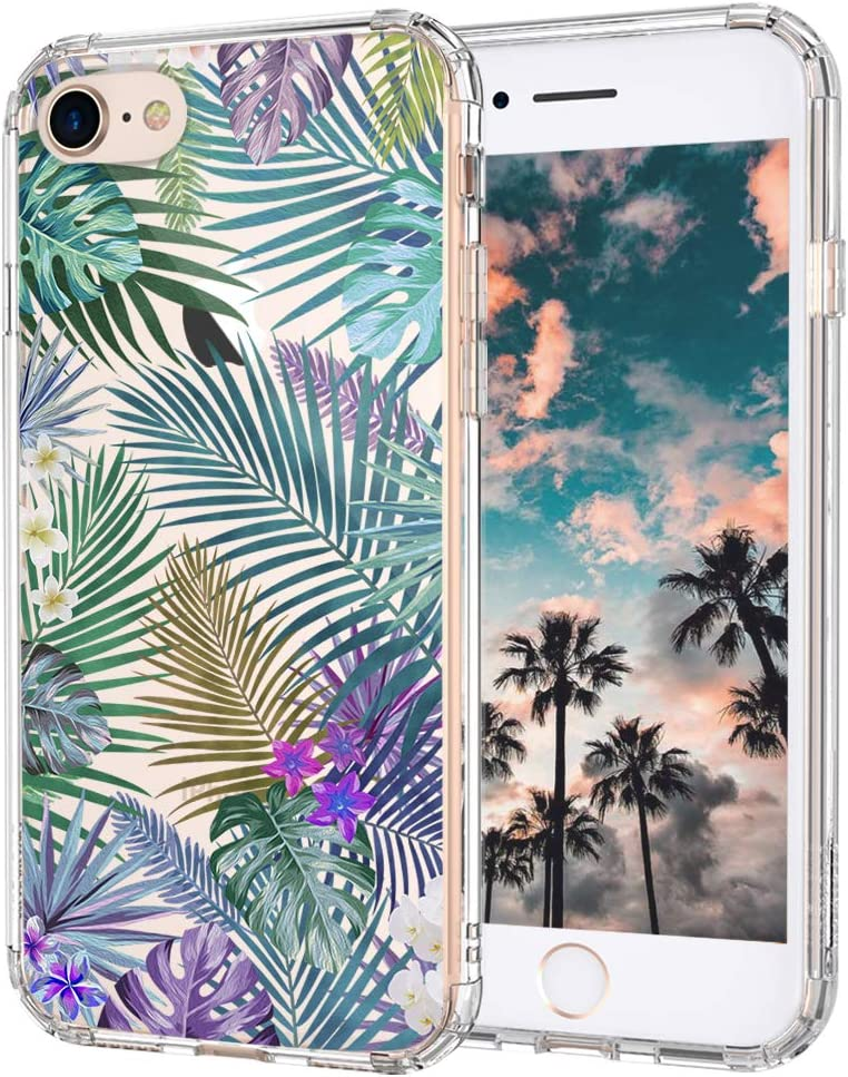 MOSNOVO Tropical Palm Tree Leaves Pattern Designed for iPhone SE 2020 Case/Designed for iPhone 8 Case/Designed for iPhone 7 Case - Clear