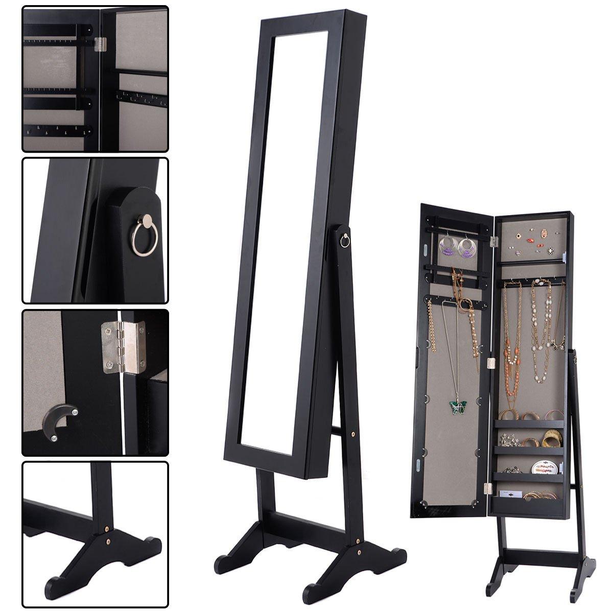 Mirrored Jewelry Cabinet Armoire Mirror Organizer Storage Box Ring w/ Stand Solid MDF body and elegant mirror Powerful storage capacity