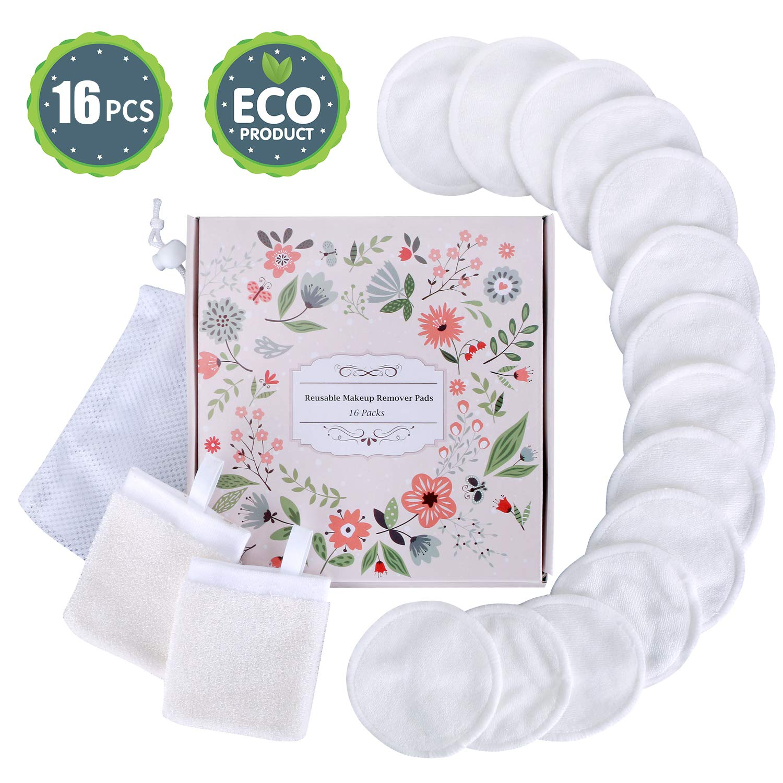 Eye Makeup Remover Pads Reusable Organic Cotton Rounds, Premium ECO Natural Bamboo Toner Pads Wipes Face Halo Makeup Remover, Bonus Silk Facial Cleansing Gloves & Laundry Bag