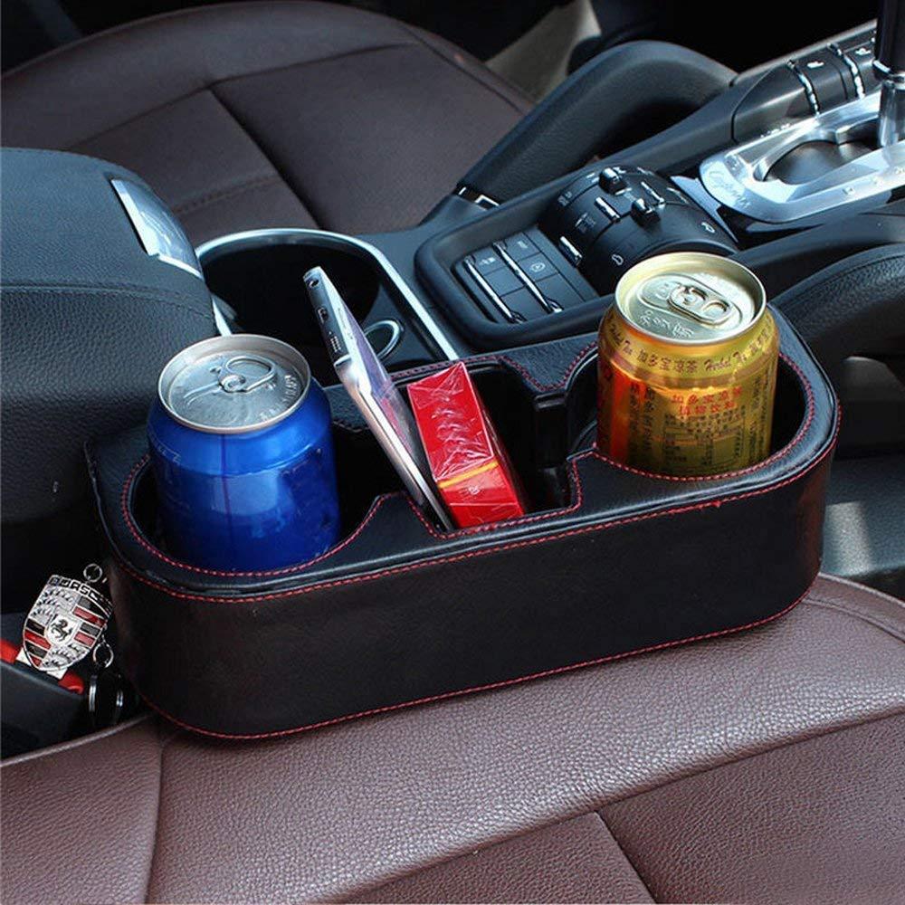Car Seat Side Drop Caddy Catcher Car Interior Accessories Black Car Seat Gap Filler Premium PU Full Leather Seat Console Organizer Car Pocket Organizer 2 Pack