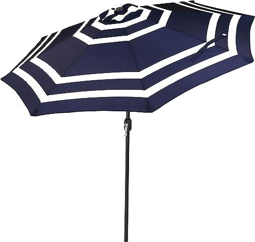 Sunnydaze 9 Foot Outdoor Patio Umbrella with Push Button Tilt Crank, Aluminum, Navy Blue Stripe