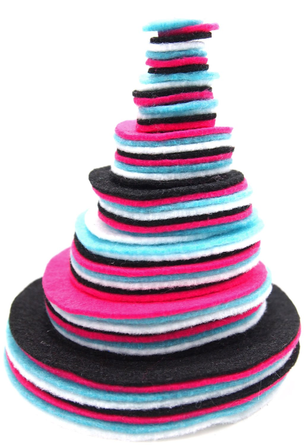 Playfully Ever After 3/4 to 4 Inch Assorted Sizes Felt Circles Color Combo Pack with Black, Pink, Turquoise Blue, White (56pc)