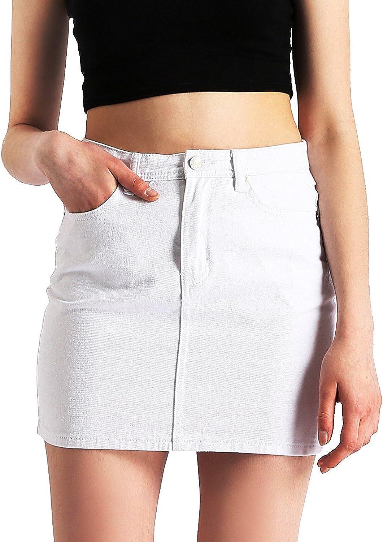 AMORETU Mujeres Verano Casual Mini Faldas De Mezclilla Una Linea De Cintura Alta Falda De Jean
