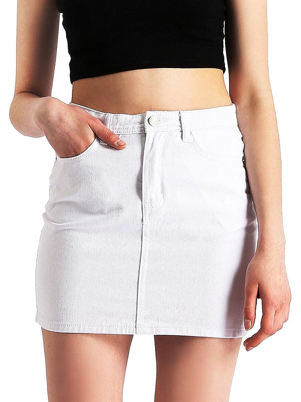 TALLA Large=44-46. AMORETU Mujeres Verano Casual Mini Faldas De Mezclilla Una Linea De Cintura Alta Falda De Jean
