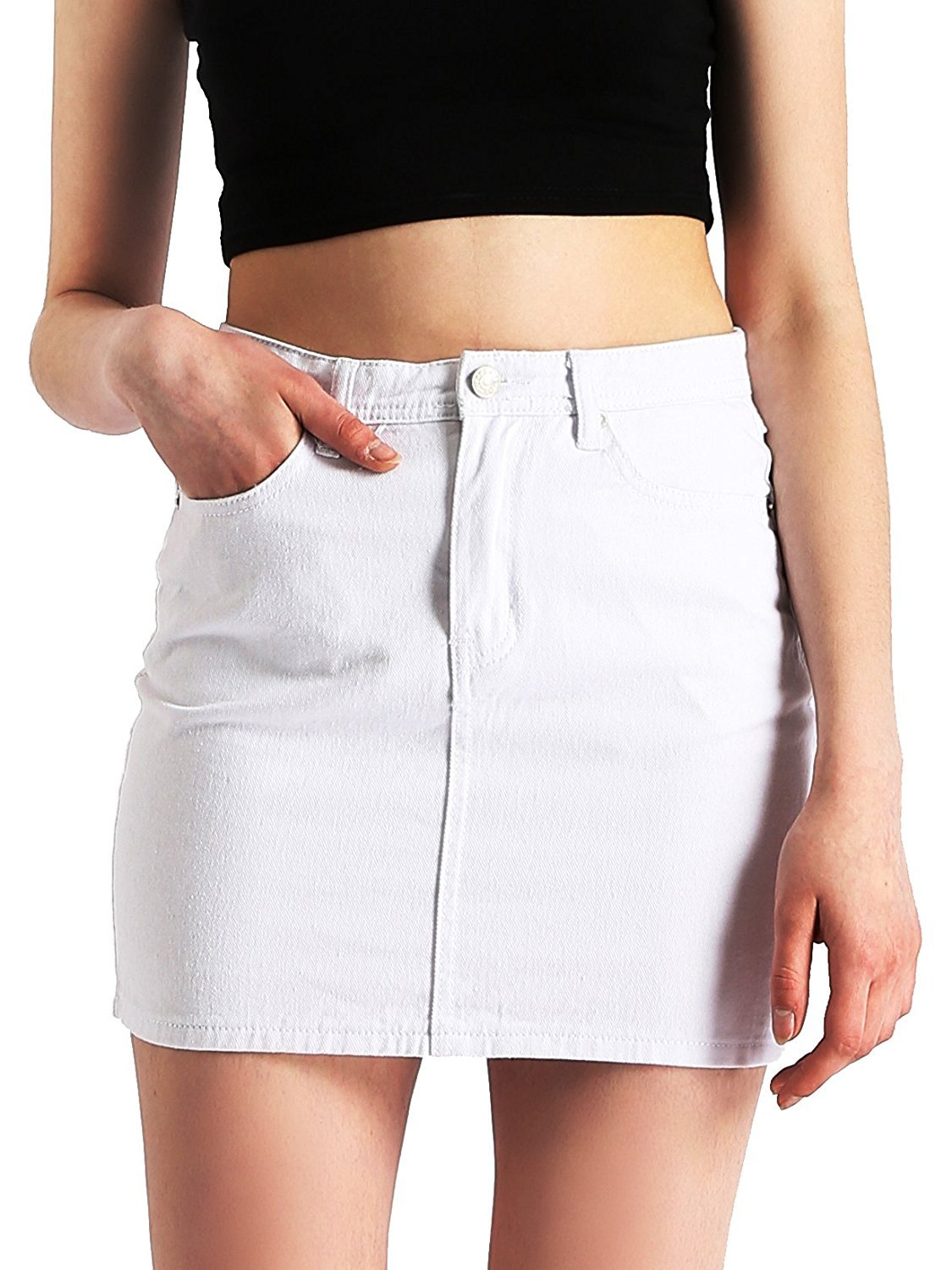Beluring High Waist Bodycon Pencil Short Jean Skirts for Women Size US 4 White