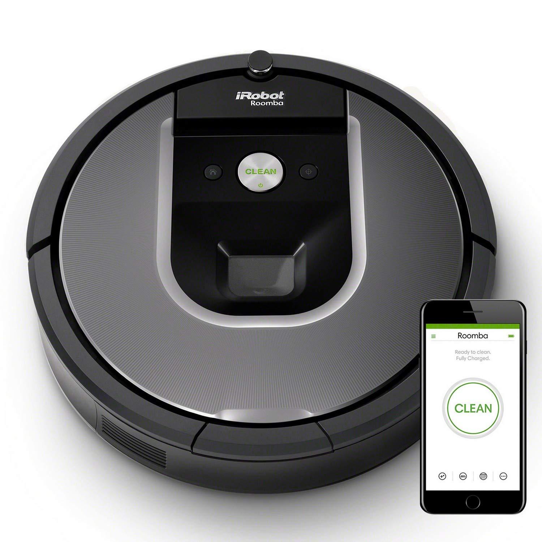 iRobot Roomba 960, aspirateur robot avec forte puissance d'aspiration, 2 brosses anti-emmêlement, idéal pour animaux, capteurs de poussière, parfait sur tapis et sols, connecté, programmable via app product image
