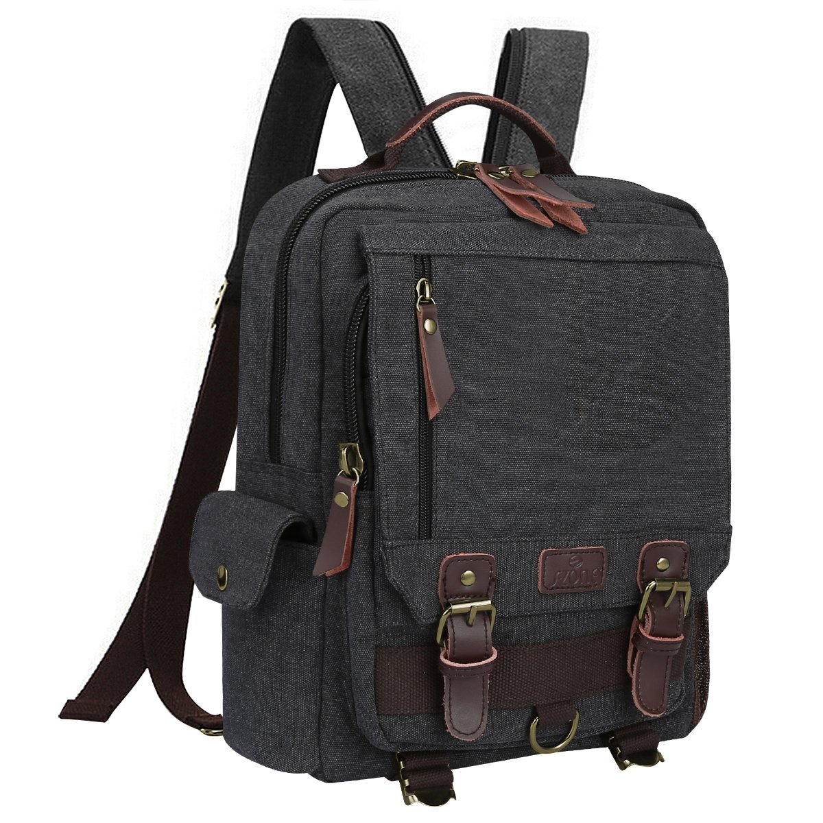 S ZONE Sling Canvas Cross Body 13 inch Laptop Messenger Bag Shoulder Backpack