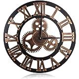 HooYL Pendule Murale Romaine Nombre Decoration Industrielle Design Geante Horloge Murale (couleur cuivre)