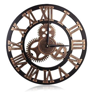 hooyl pendule murale romaine nombre decoration design geante horloge murale couleur cuivre with. Black Bedroom Furniture Sets. Home Design Ideas