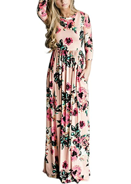 e0043e08bb DSCAO Long Sleeve Casual Vintage Floral Boho Maxi Dresses for Women Floor  Length Retro Ladies Dresses