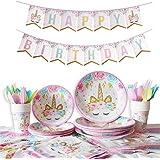 Amycute 114点セット パーティ使い捨て食器セット 紙皿 紙コップ ユニコーン 誕生日 可愛い 飾り 16名様セット 飾り付け HAPPY BIRTHDAY お花見 運動会 キャンプ (ピンク)