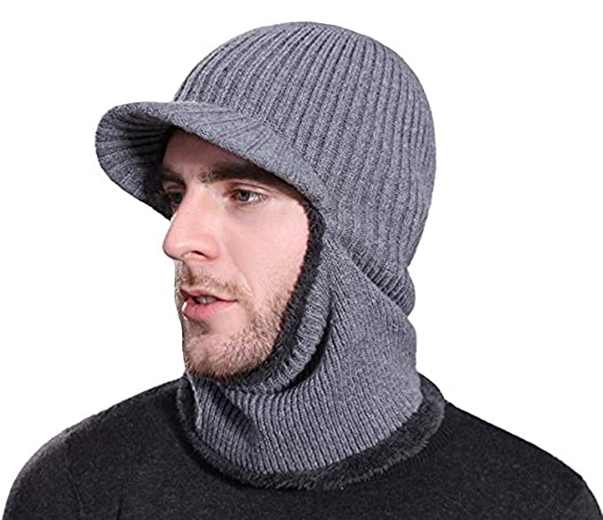 b74881f7383 Rgslon Winter Knit Ninjia Cap Visor Windproof Ski Face Mask Warm Fleece  Balaclava Beanie Hat (