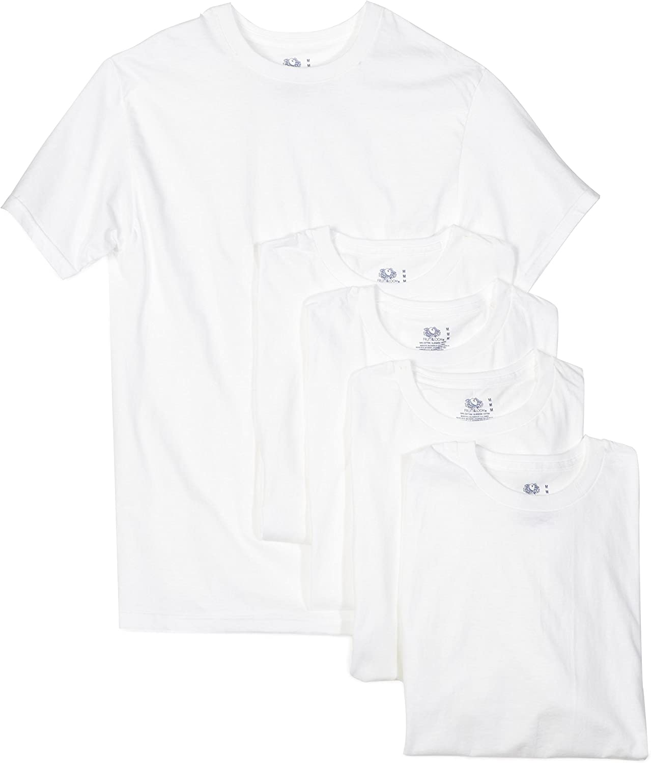 Fruit of The Loom Mens 6-Pack Stay Tucked Crew T-Shirt White, XXXX-Large // 58-60 Chest