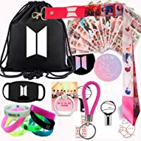 BTS Gift Set for Army, BTS Map of The Soul Personal, Inculding Drawstring Bag,Sticker,Bracelet,Lanyard,Mask,Phone Ring,Button